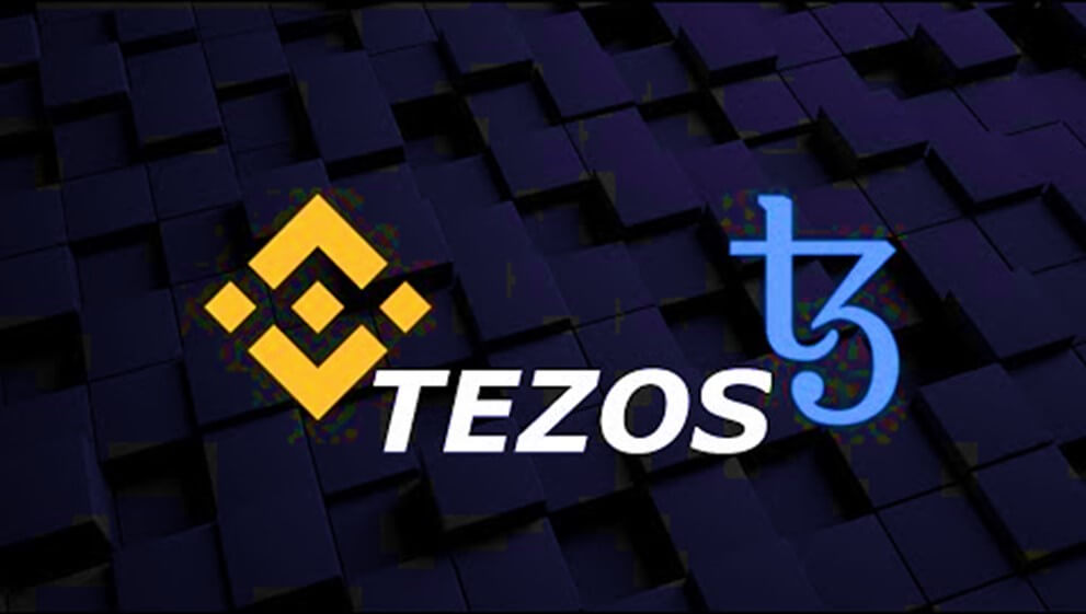 Logo of Binance and Tezos